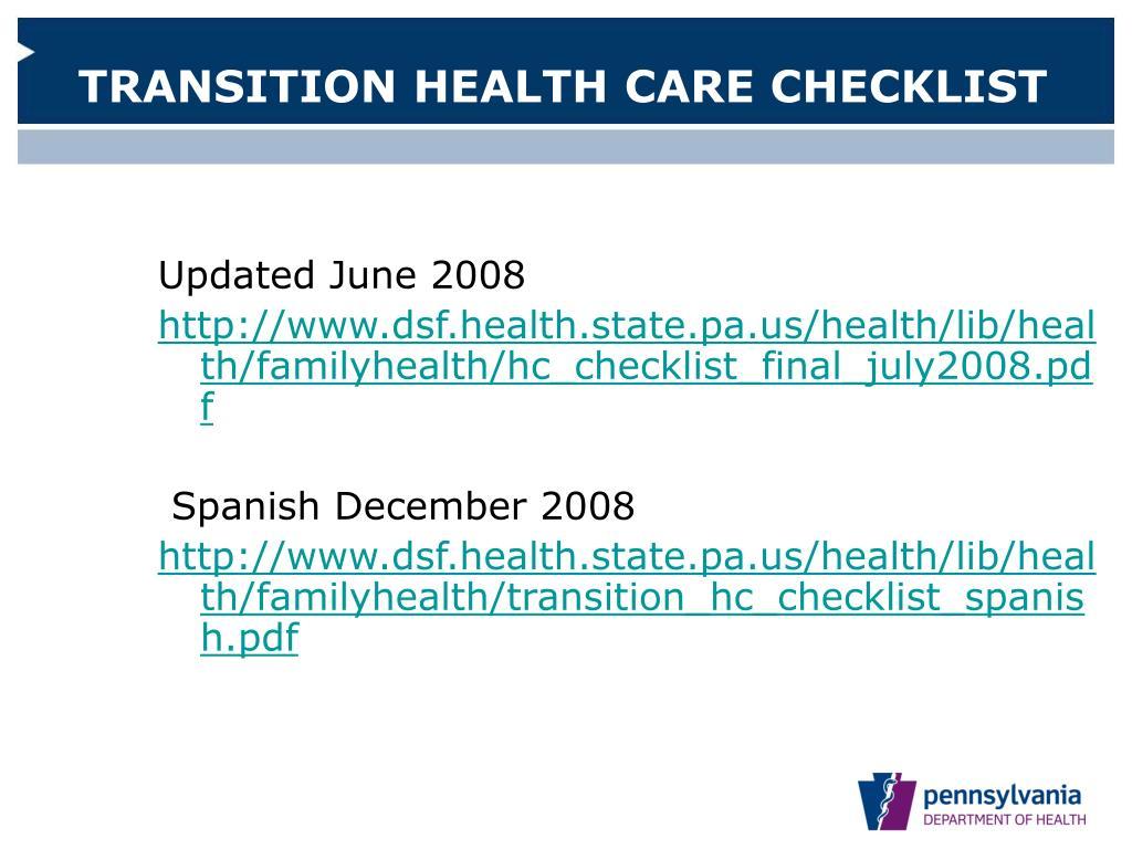 TRANSITION HEALTH CARE CHECKLIST