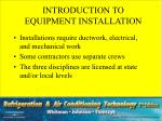 introduction to equipment installation