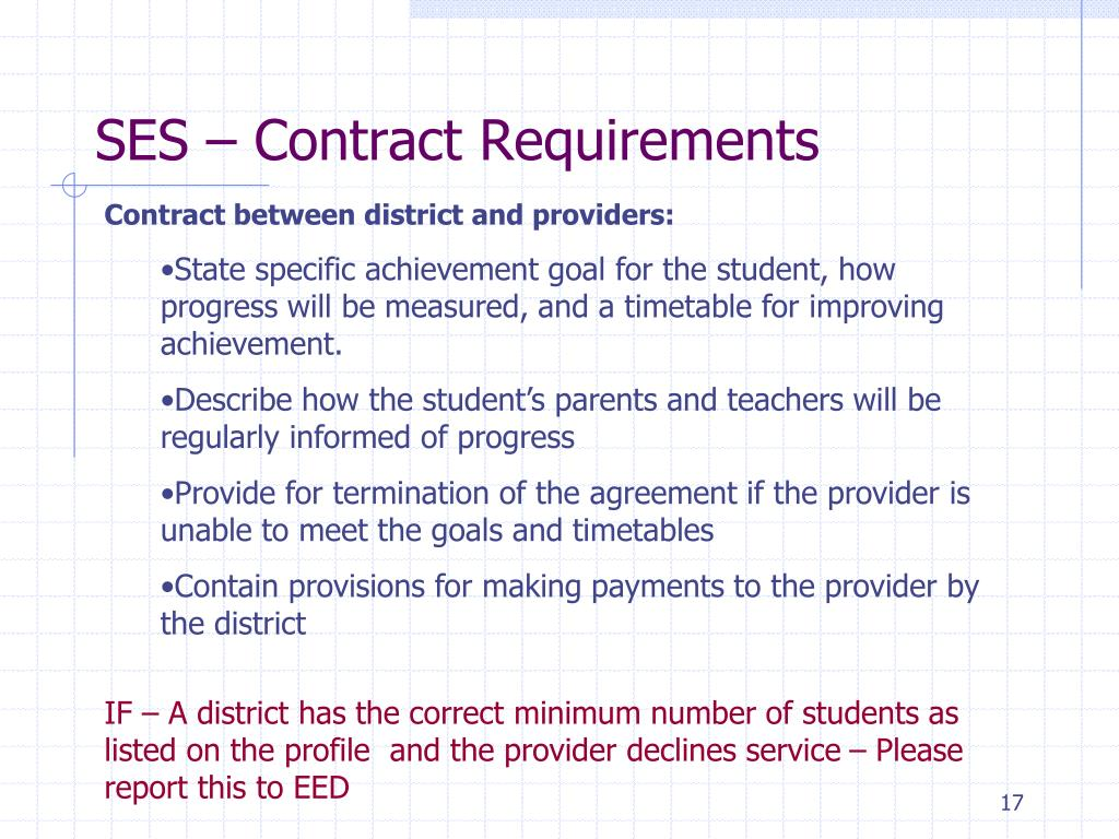 SES – Contract Requirements