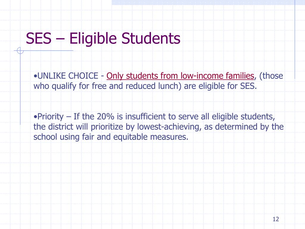 SES – Eligible Students