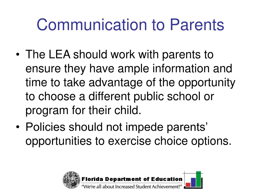 Communication to Parents