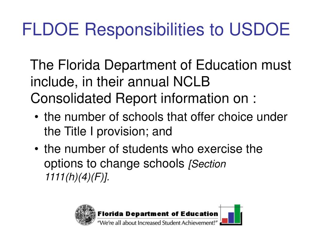 FLDOE Responsibilities to USDOE
