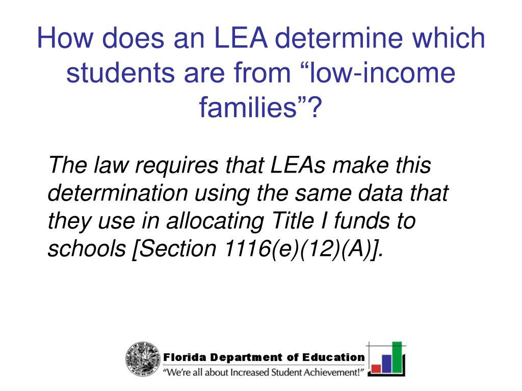 "How does an LEA determine which students are from ""low-income families""?"