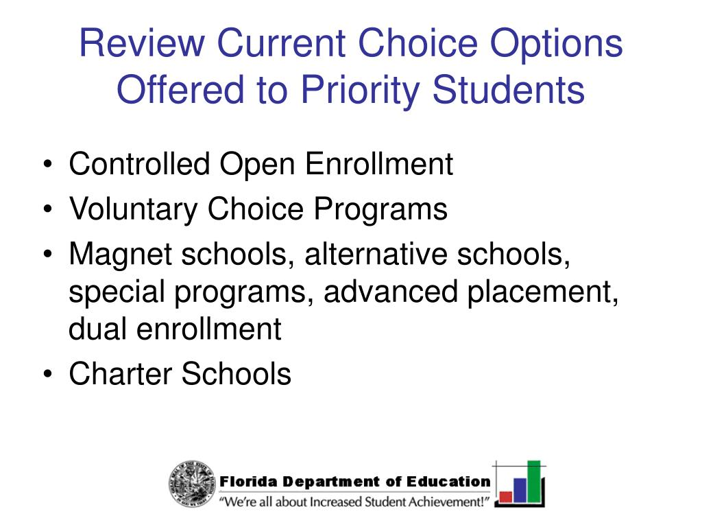Review Current Choice Options Offered to Priority Students