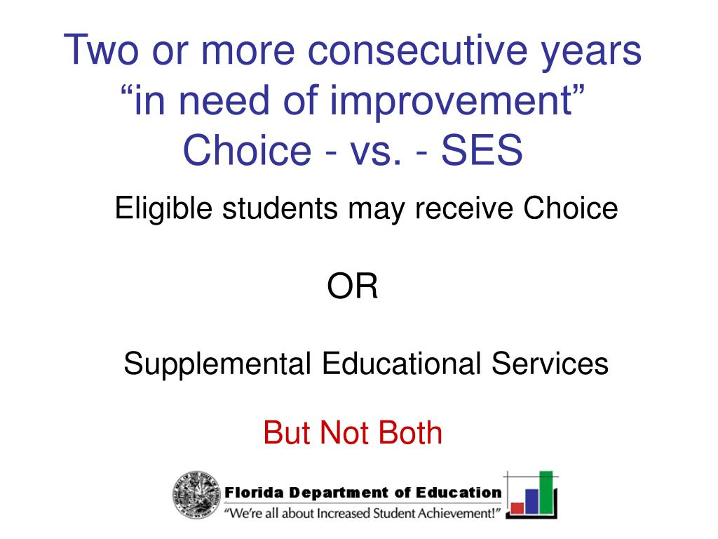 "Two or more consecutive years ""in need of improvement"""