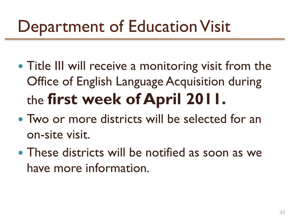 Department of Education Visit