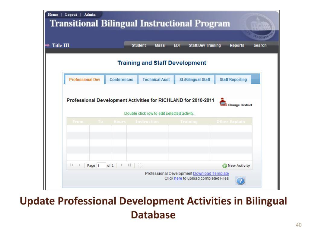 Update Professional Development Activities in Bilingual Database