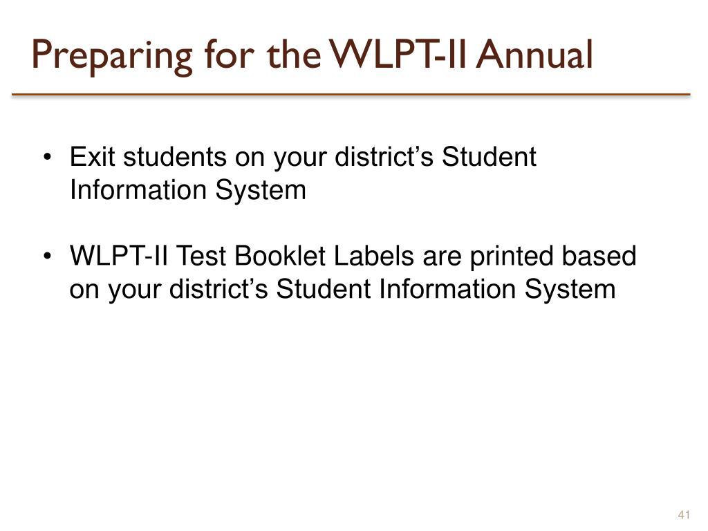 Preparing for the WLPT-II Annual