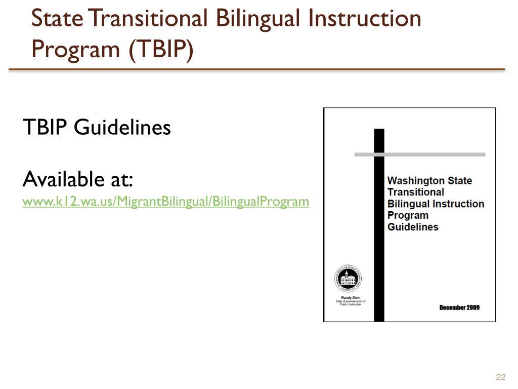 State Transitional Bilingual Instruction Program (TBIP)