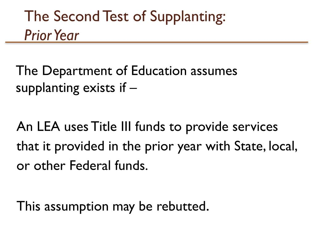 The Second Test of Supplanting: