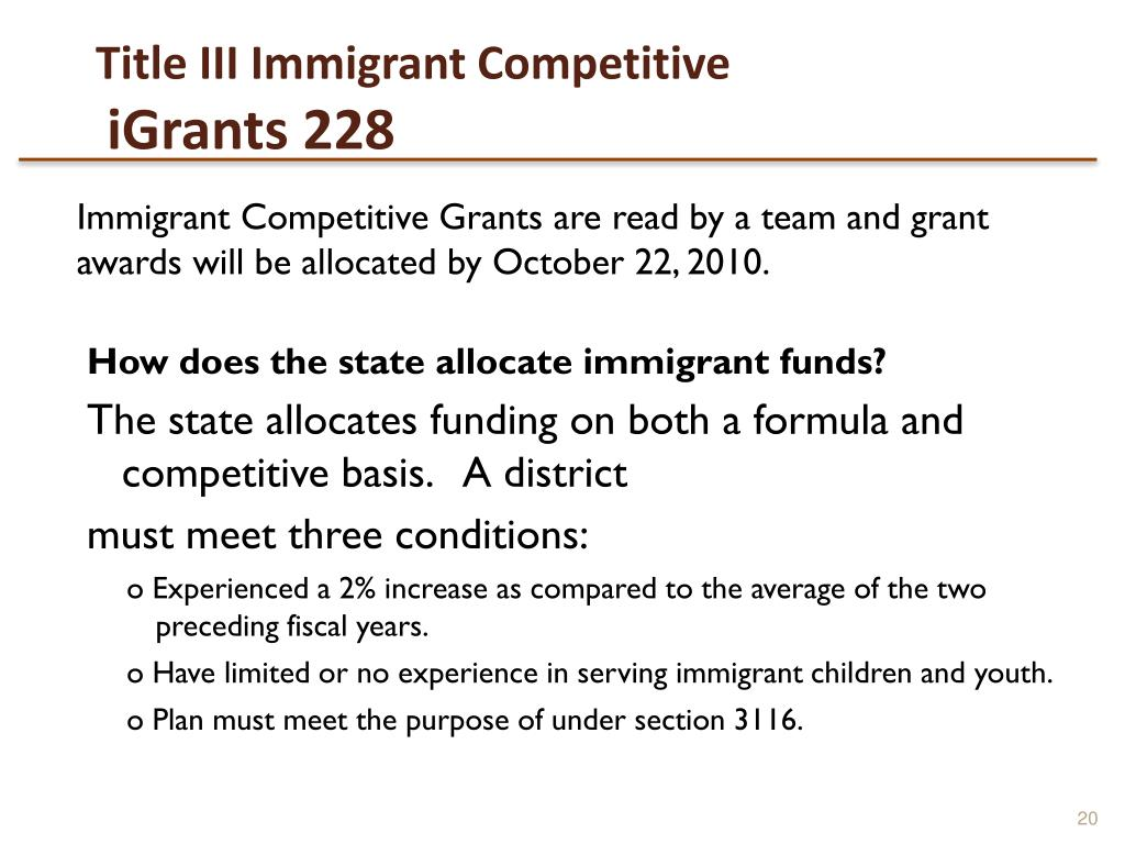 Title III Immigrant Competitive