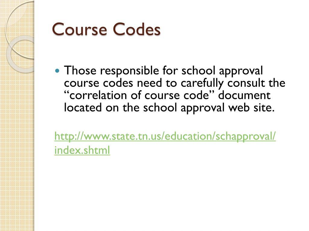 Course Codes