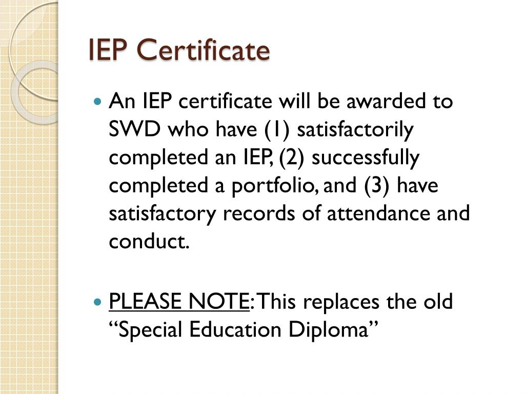 IEP Certificate