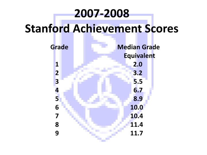 2007 2008 stanford achievement scores