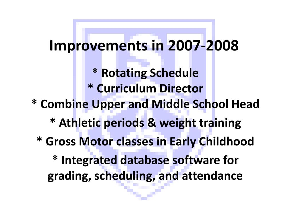 Improvements in 2007-2008