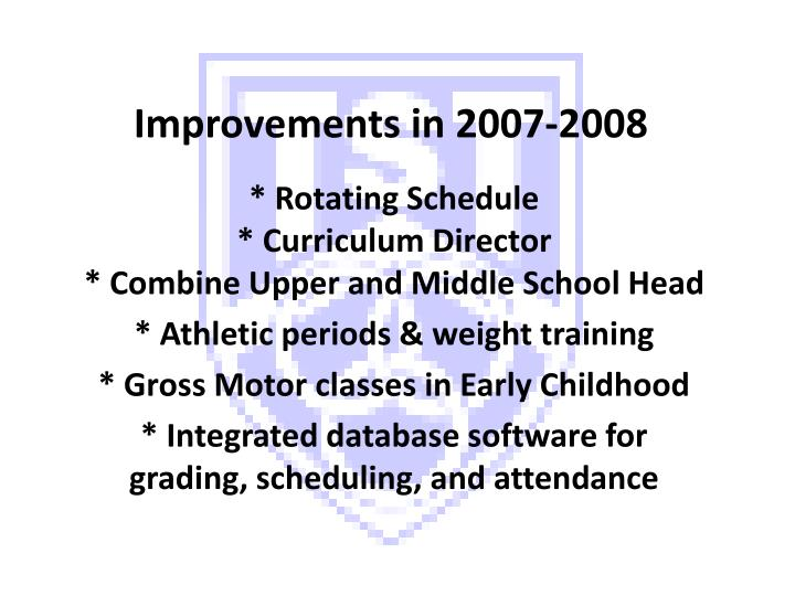 Improvements in 2007 2008