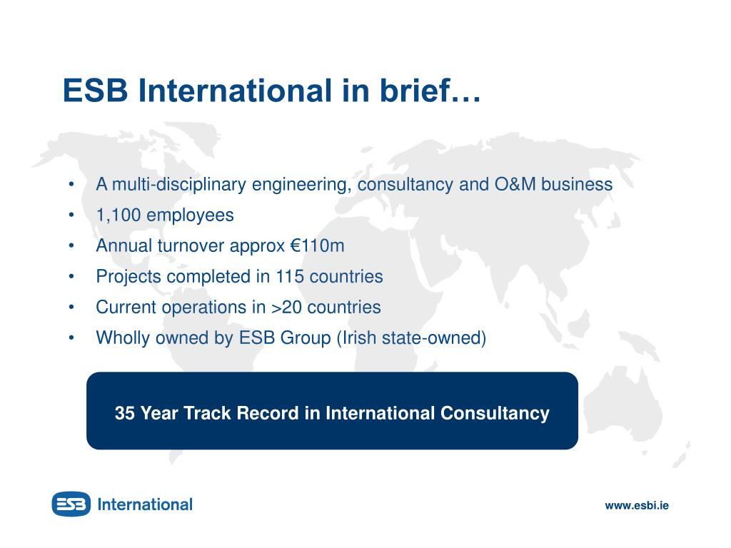 ESB International in brief…