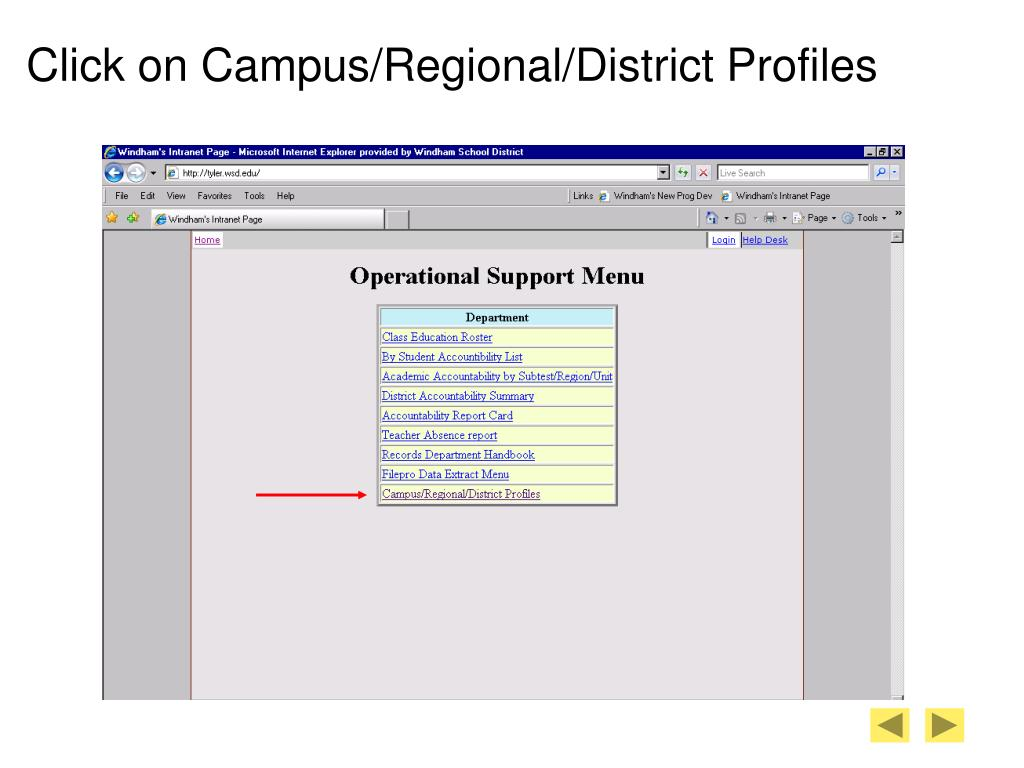 Click on Campus/Regional/District Profiles