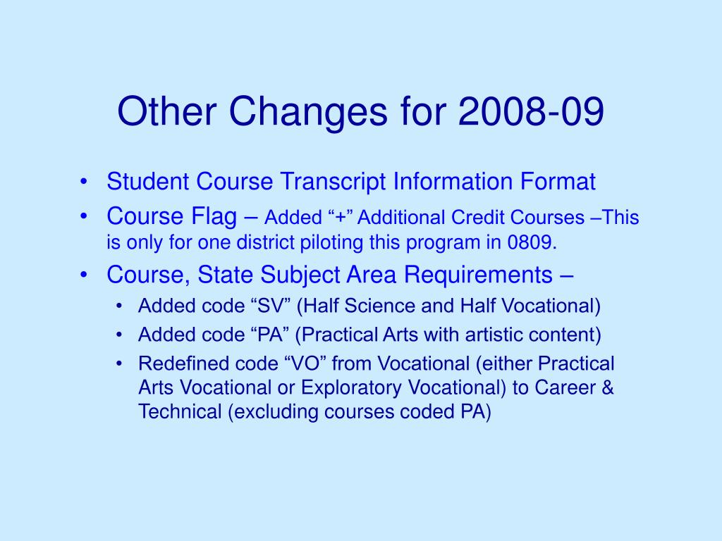Other Changes for 2008-09