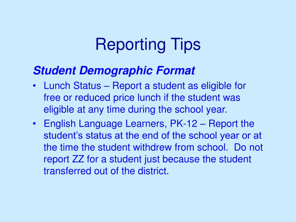 Reporting Tips