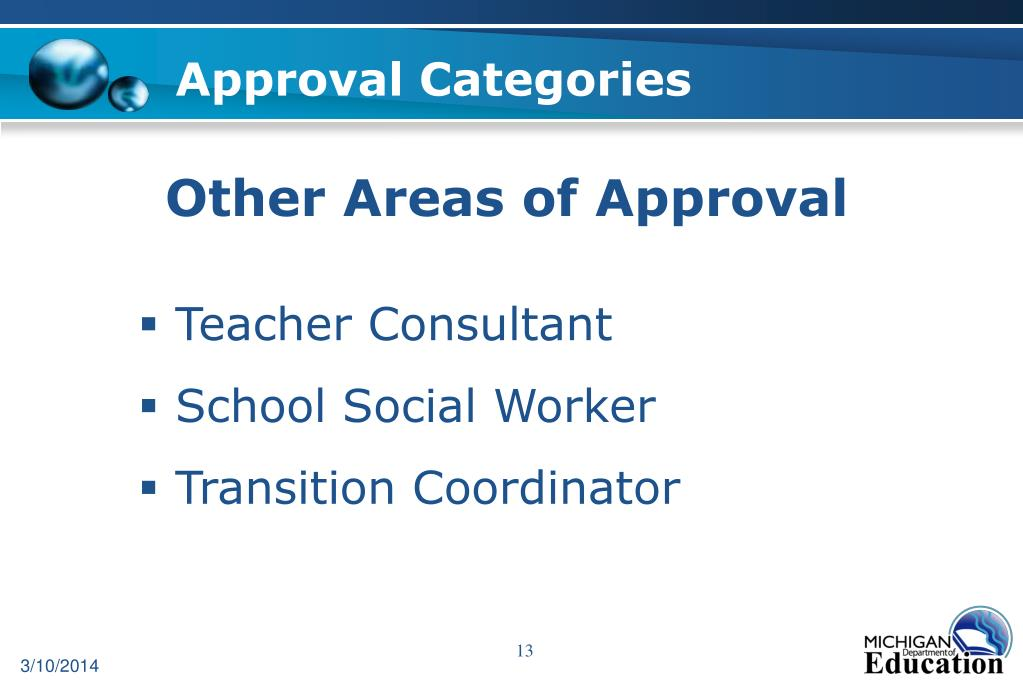 Approval Categories