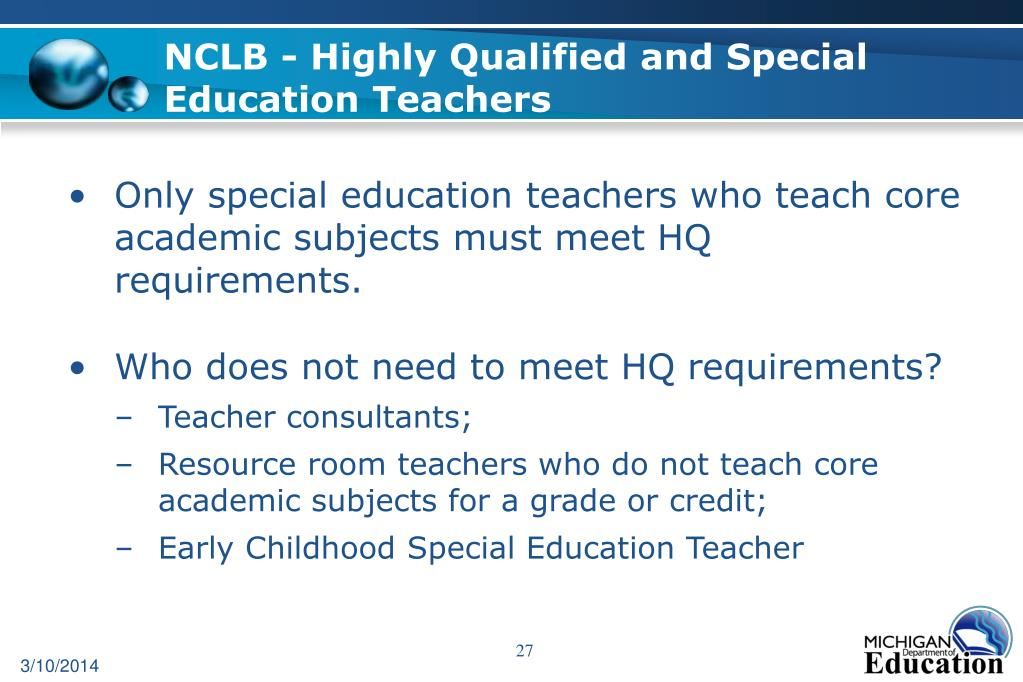 NCLB - Highly Qualified and Special Education Teachers