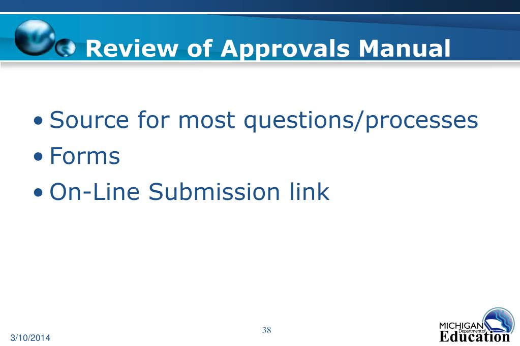 Review of Approvals Manual