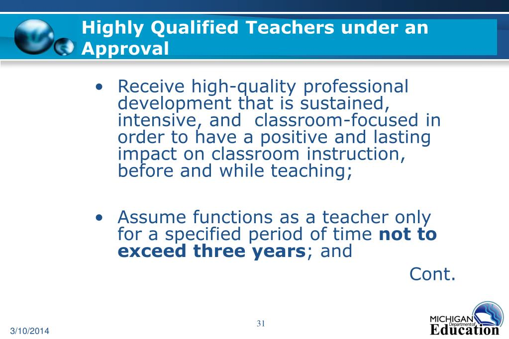 Highly Qualified Teachers under an