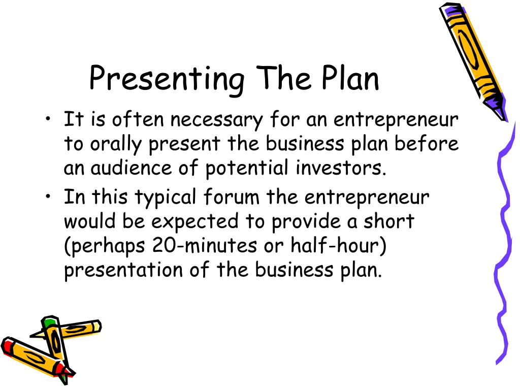 how to present a business plan If you're presenting your business plan in powerpoint format, read this first creating a powerpoint presentation, or deck, for your business plan is a quick.