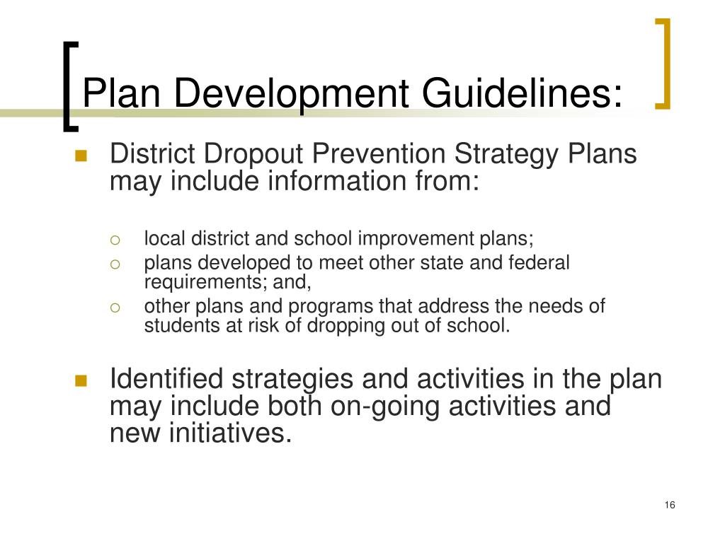 Plan Development Guidelines: