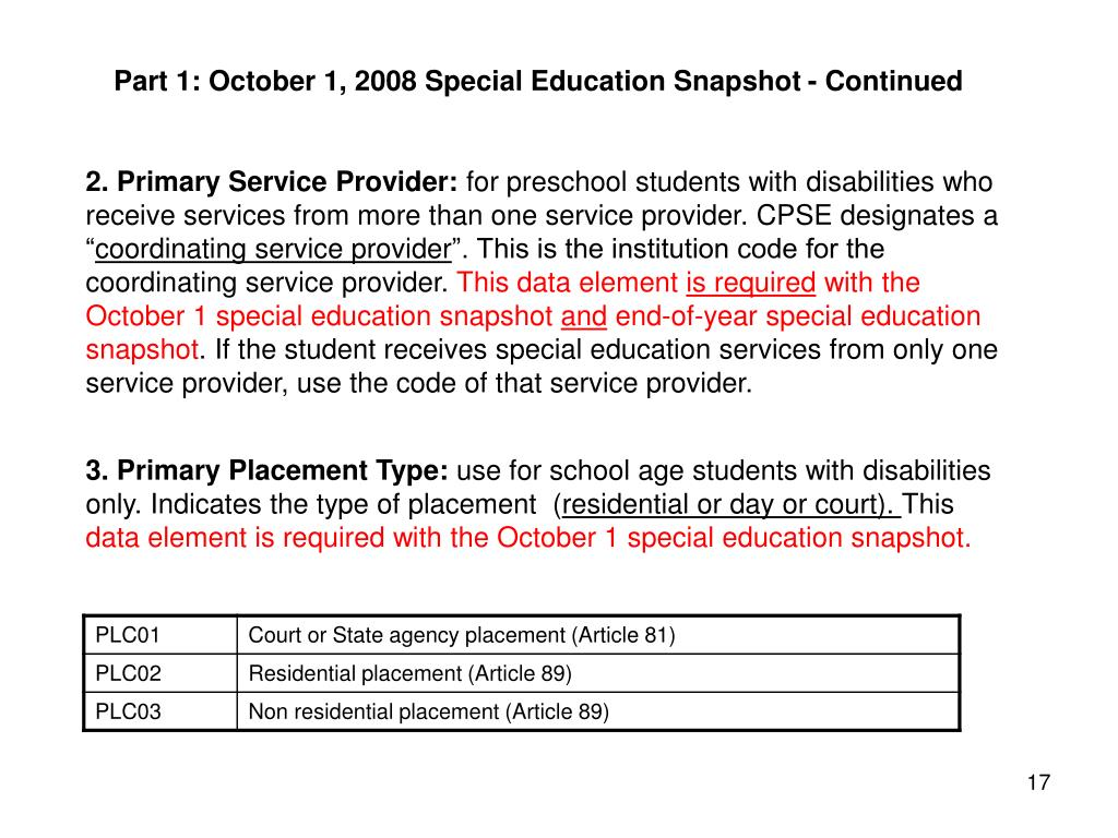Part 1: October 1, 2008 Special Education Snapshot - Continued