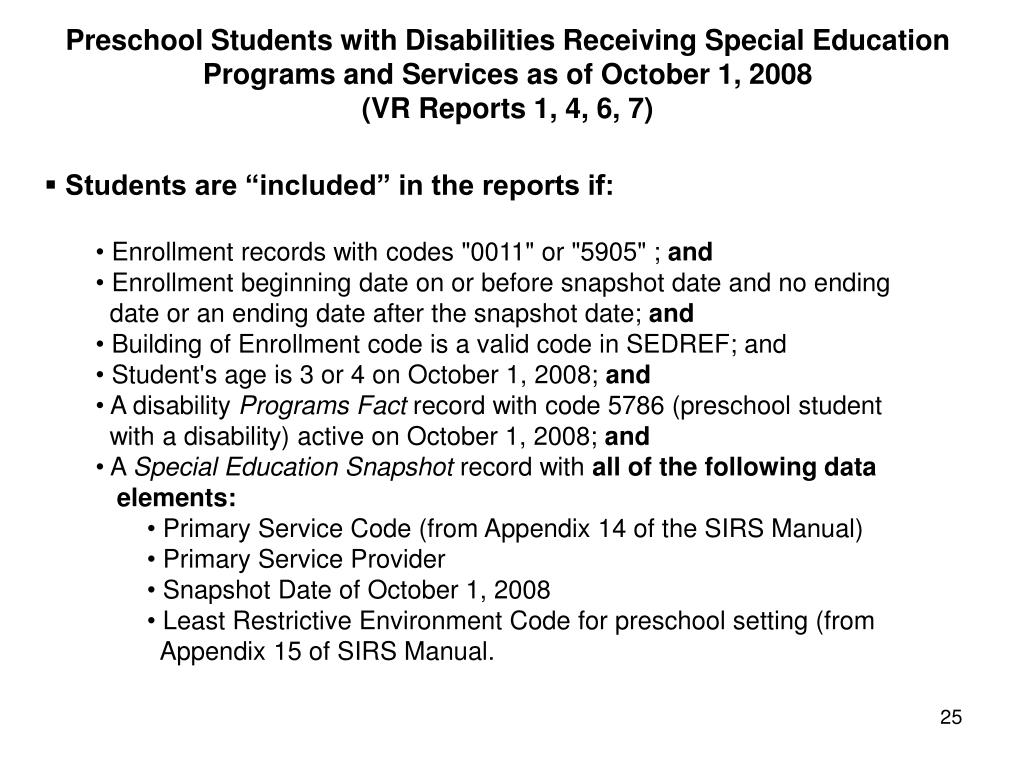 Preschool Students with Disabilities Receiving Special Education Programs and Services as of October 1, 2008