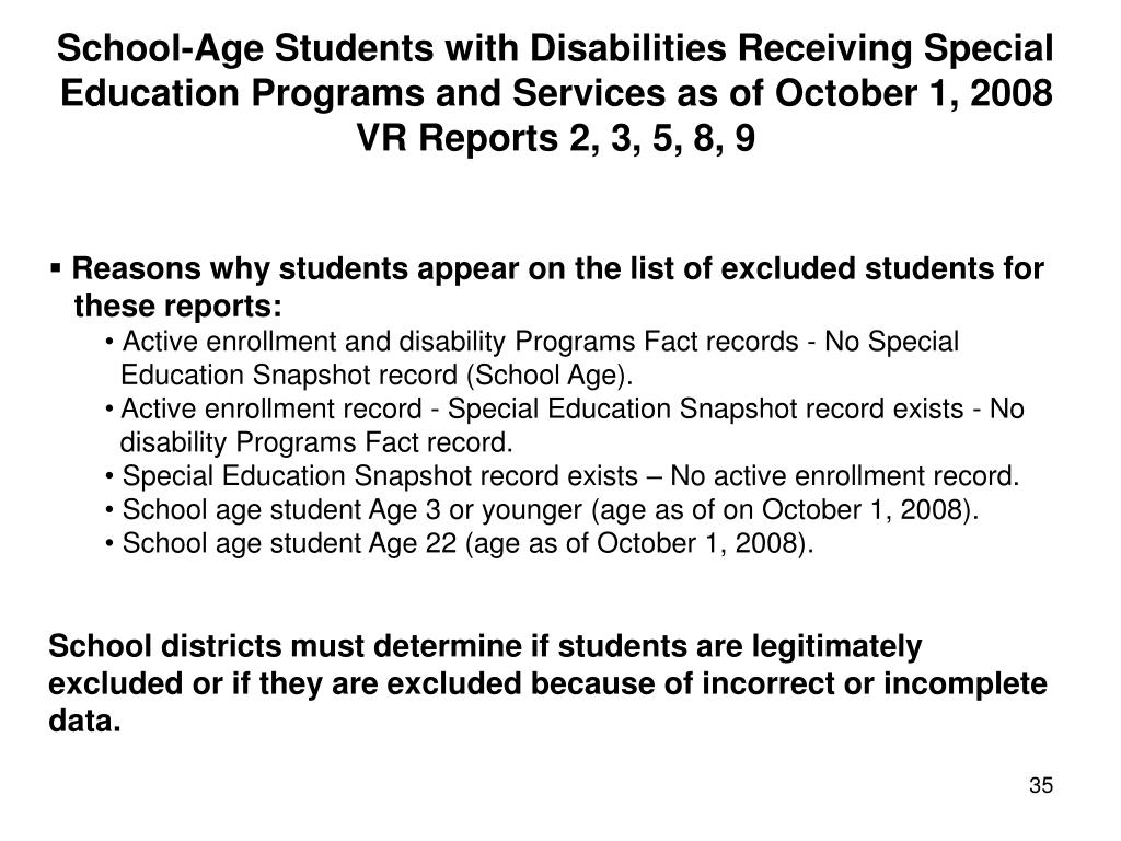 School-Age Students with Disabilities Receiving Special Education Programs and Services as of October 1, 2008