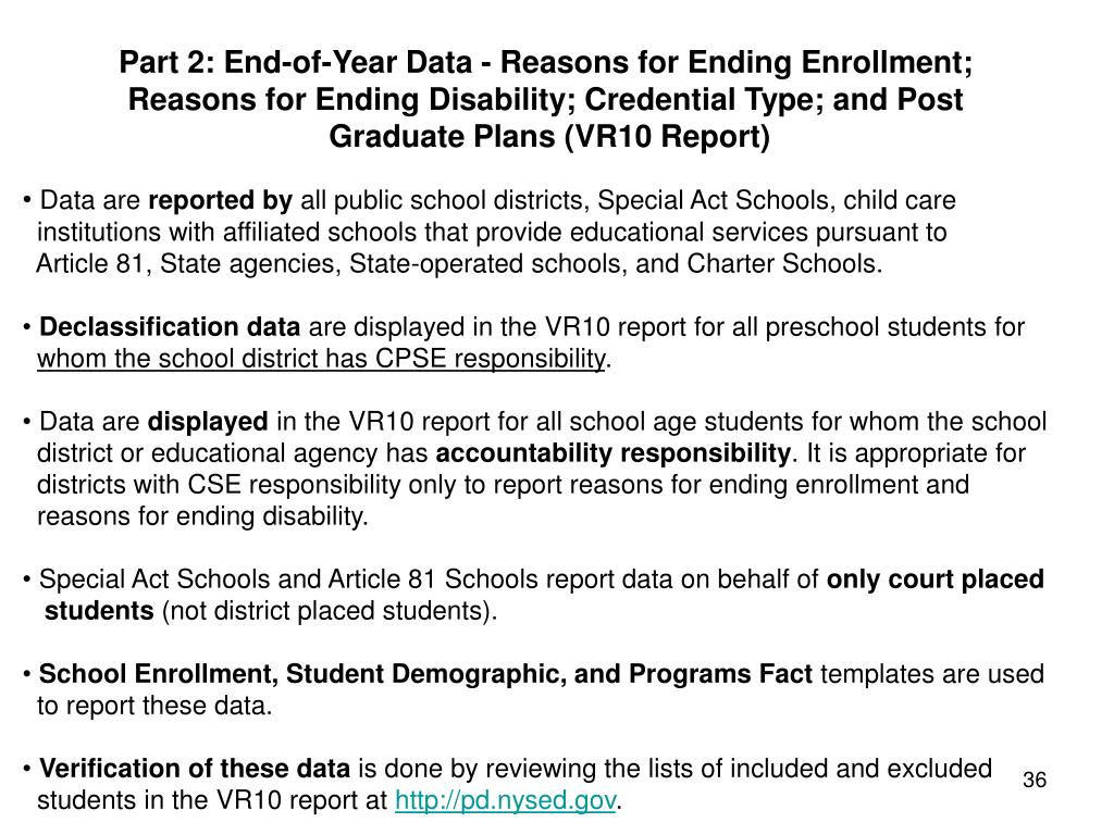 Part 2: End-of-Year Data - Reasons for Ending Enrollment;