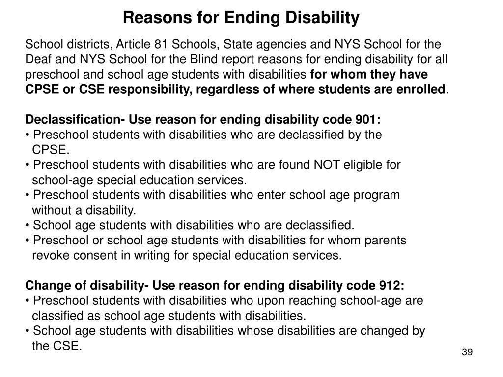 Reasons for Ending Disability