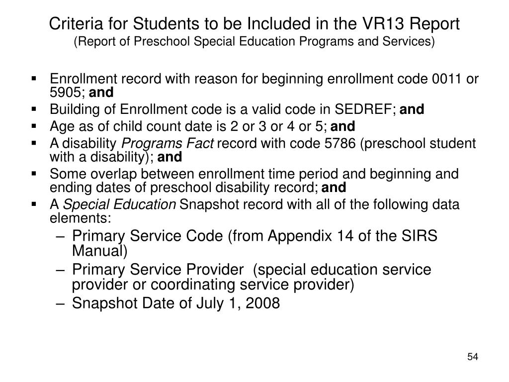 Criteria for Students to be Included in the VR13 Report