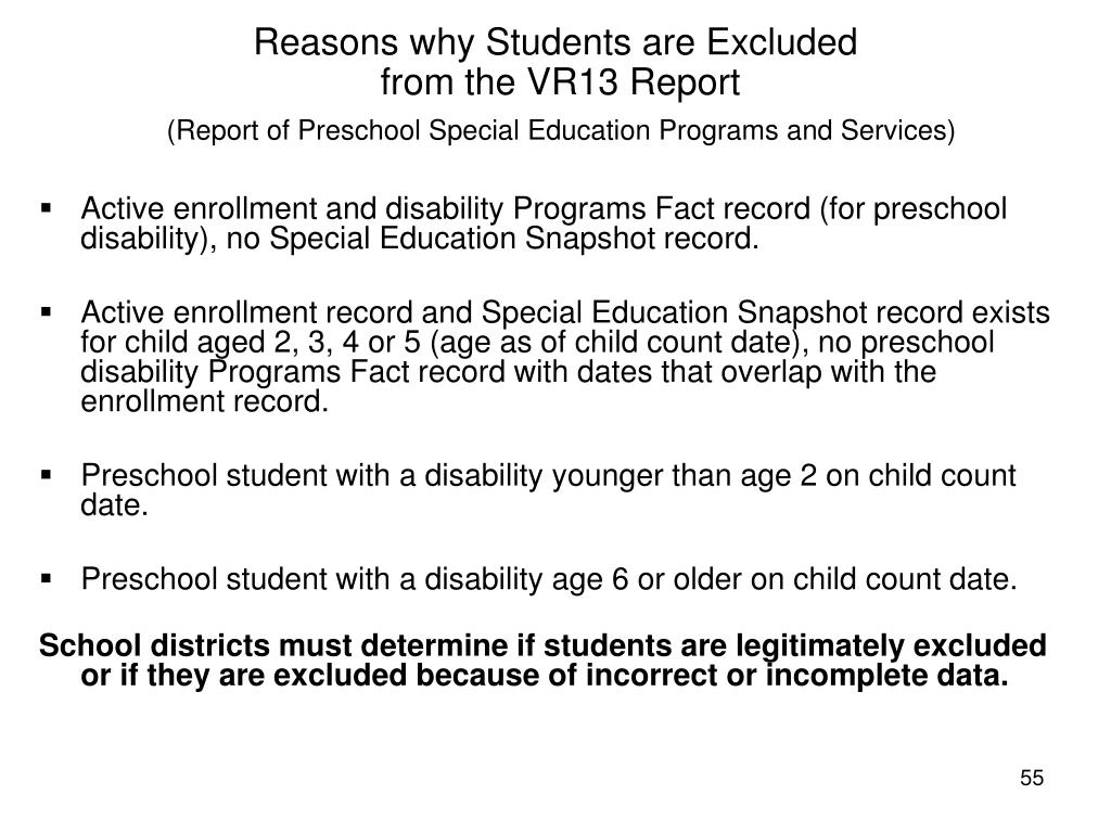 Reasons why Students are Excluded