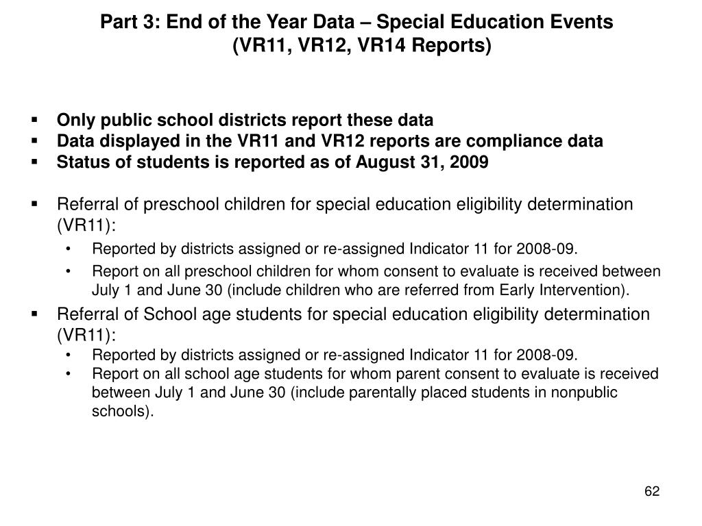 Part 3: End of the Year Data – Special Education Events
