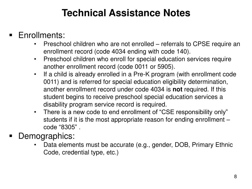Technical Assistance Notes