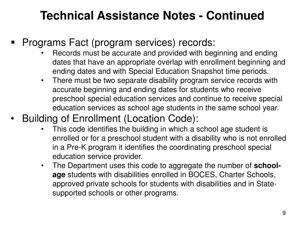 Technical Assistance Notes - Continued