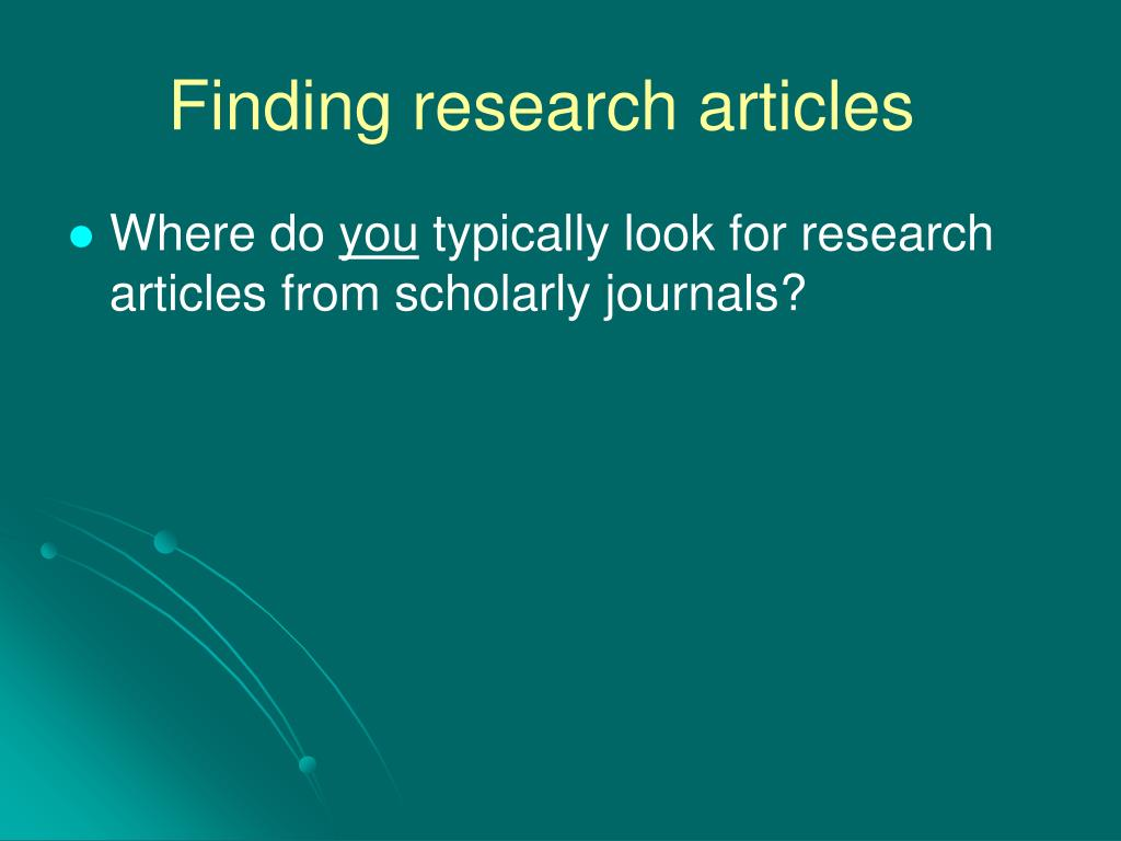 Finding research articles