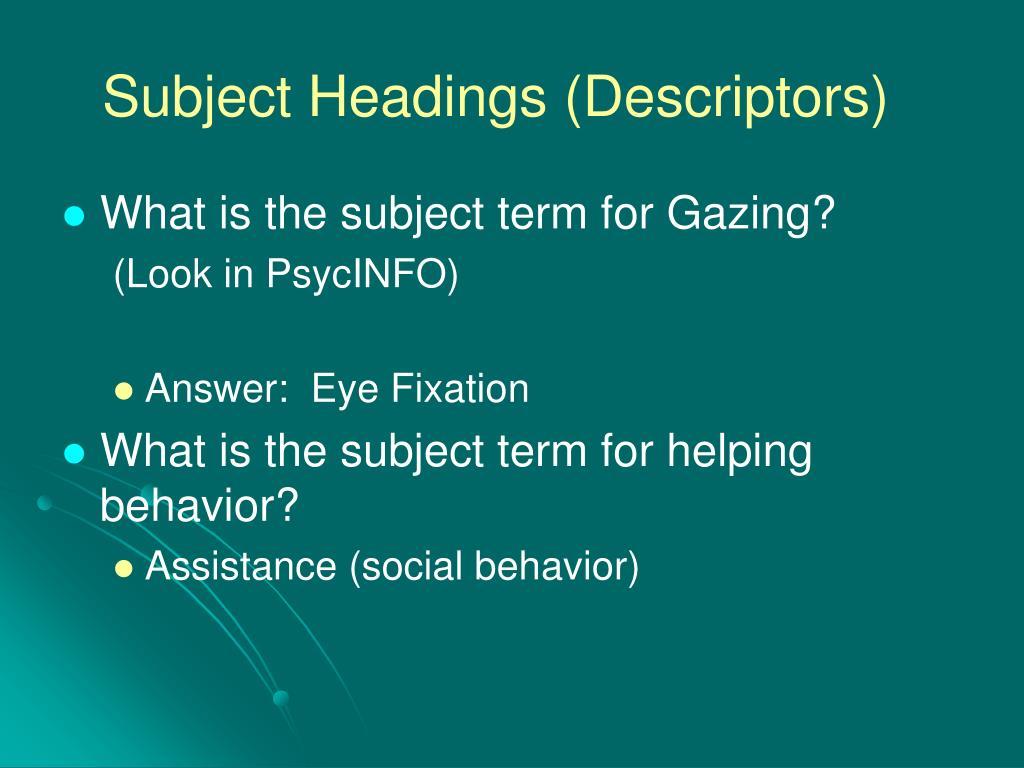 Subject Headings (Descriptors)