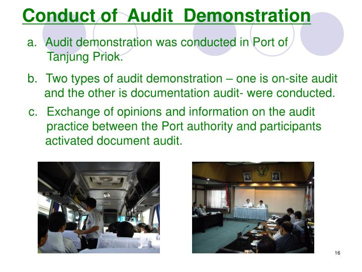 Conduct of  Audit  Demonstration