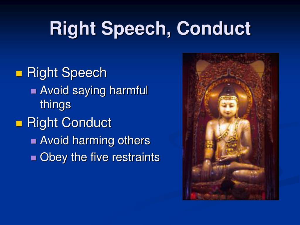 Right Speech, Conduct