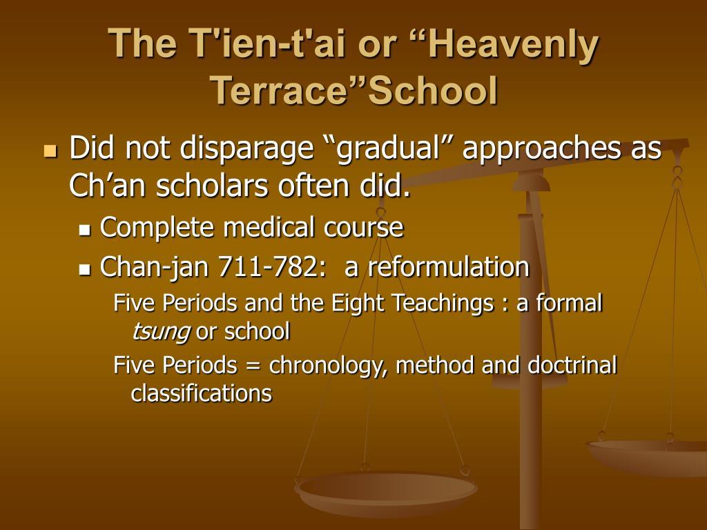 """The T'ien-t'ai or """"Heavenly Terrace""""School"""