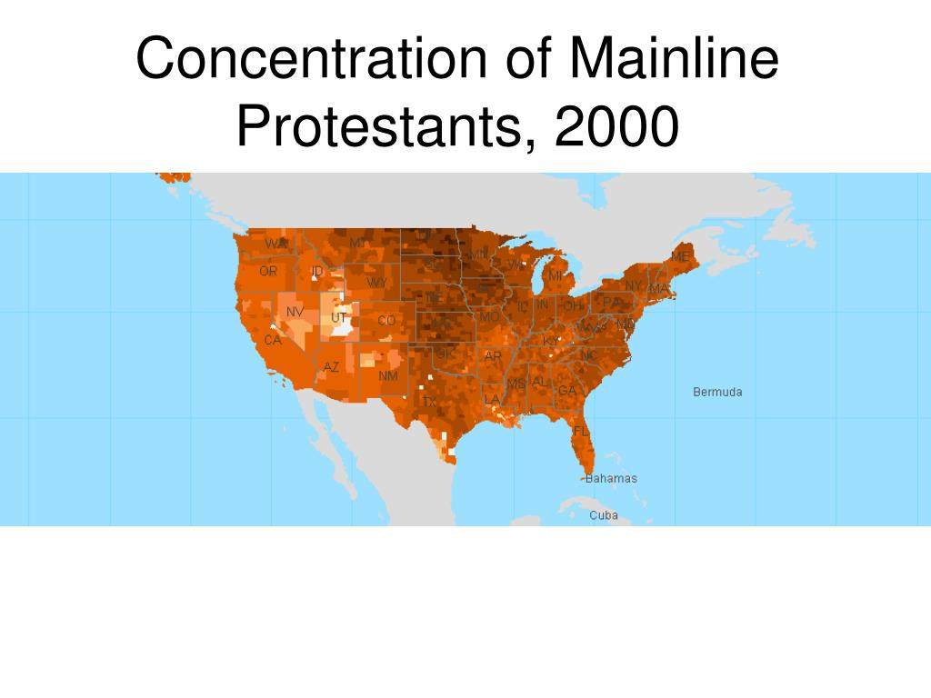 Concentration of Mainline Protestants, 2000