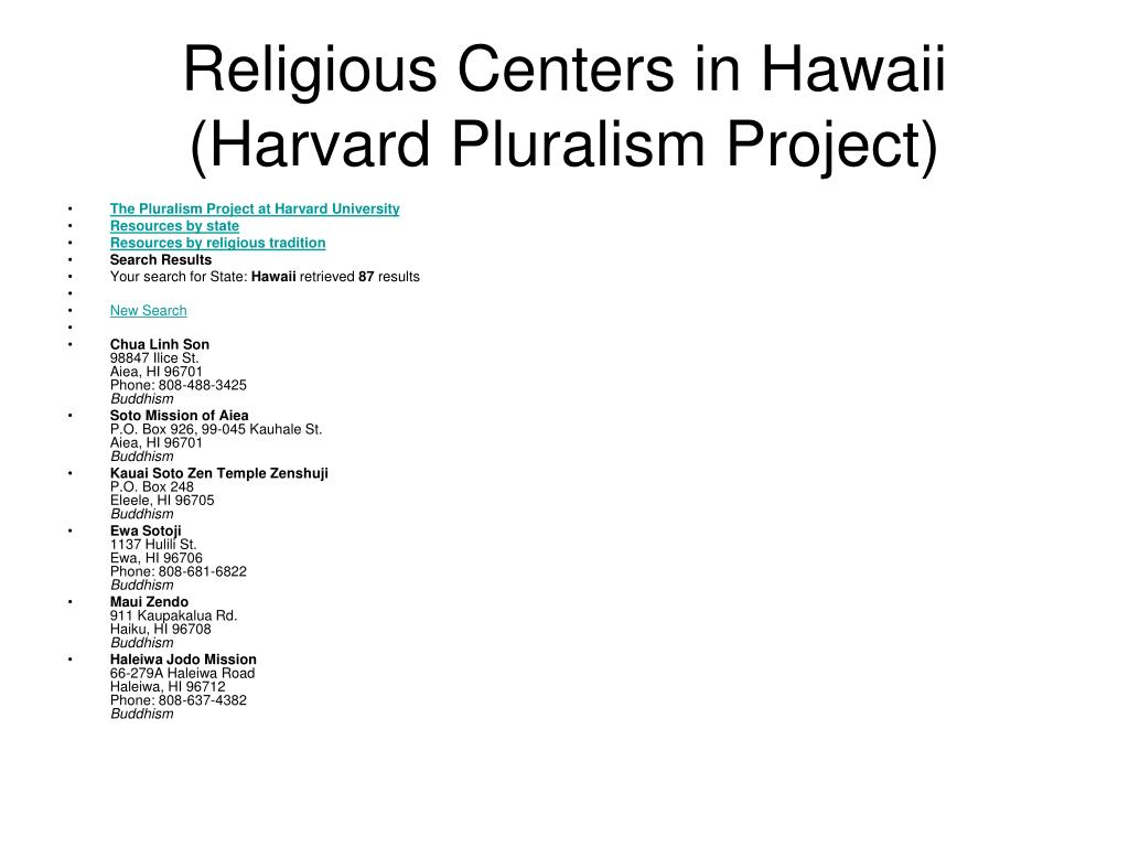 Religious Centers in Hawaii (Harvard Pluralism Project)