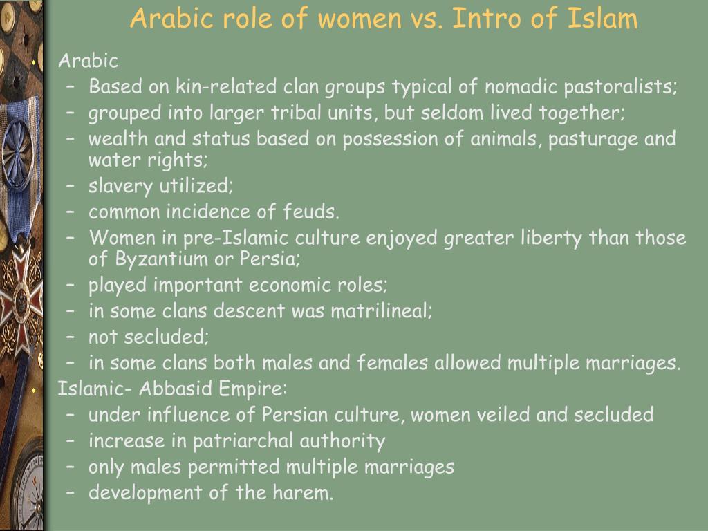 Arabic role of women vs. Intro of Islam