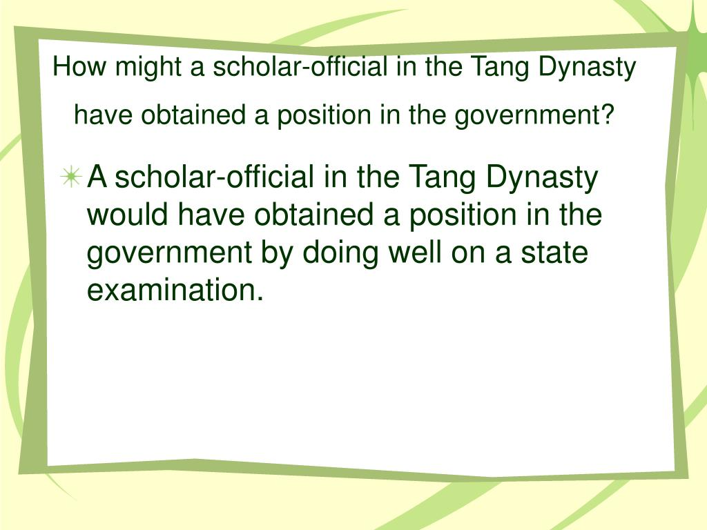 How might a scholar-official in the Tang Dynasty have obtained a position in the government?