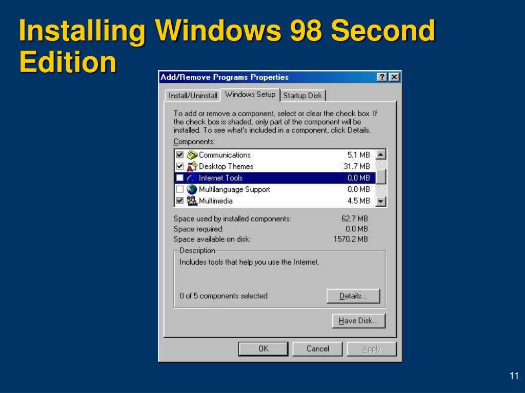 Installing Windows 98 Second Edition